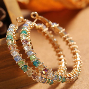 NOUVEAU Mode TRENDY FEMMES Boucles d'oreilles Bijoux Jaune Gold Plated CZ Big Boucles d'oreilles Hoops Pour Filles Femmes Nice cadeau