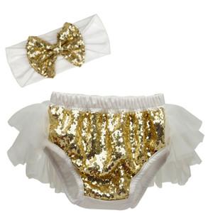 Boutique pantalon bébé filles princesse robe tutu arc costume court + bandeau sequin 2pcs / enfants pantalons vêtements de lot