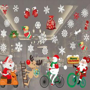 El nuevo diseño de ventana colorido decoración del muñeco de nieve de Santa Deer Los copos de nieve de Bell Adhesivos de Navidad Decoración de Año Nuevo Enfeites