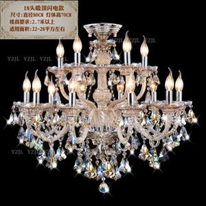 Chandelier lighting crystal living room restaurant Cognac Villa duplex double chandelier crystal lights CHANDELIER