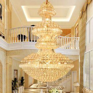 LED 현대 크리스탈 샹들리에 조명기구 미국의 빅 골든 샹들리에 램프 호텔 로비 홀 Stair Way Villa 가정 실내 조명