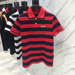 2018 marque de l'été Polo Pure couleur rayure Hommes Chemise broderie abeille Mode Hommes à manches courtes Tee Shirts Bonne Qualité Homme Camisa Polo