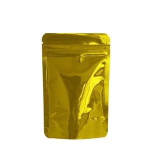 100pcs lot Heat Sealable Zipper Top Mylar Bag 8.5x13cm Stand Up Golden Glossy Aluminum Foil Packing Bag Food Bean Coffee Package Bag Retail