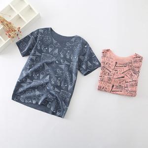 Meninos de verão De Algodão Cão Snop Gelado Completo Impresso Essentials Macio Em Torno Do Pescoço-de Mangas Curtas T-shirt do Miúdo Roupas de Verão 5 tamanhos muito