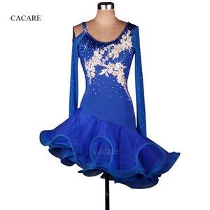 Vestido de la danza latina Mujeres Latina Samba Dance Wear BARATO CAD234 Rhinestones Flores de lentejuelas 2 colores trajes Tango Salsa Dress Samba Costume