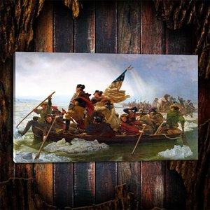 George Washington'un Delaware Nehri Geçişi, 1 Parça Ev Dekorasyonu HD Baskılı Modern Sanat Tuval Üzerine Boyama (Çerçevesiz / Çerçeveli)