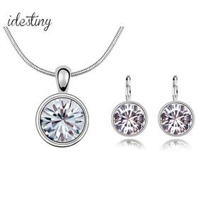 Marcas de moda Conjuntos de joyería Conjunto de collar de cristal austriaco nupcial para las mujeres Piedras Pendiente Joyería Parure Bijoux Femme