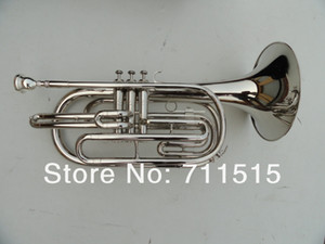 Chapado en plata Marching Baritone Horn Bb Brass Instrumento musical Cuerno con boquilla Caja de nylon Envío gratis