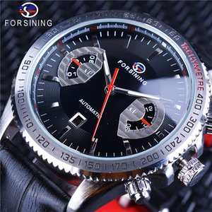 Forsining Calendário Display Prata Racing Bezel Preto Couro Genuíno Mãos Luminosas dos homens de Luxo Esporte Mecânico Relógios de Pulso