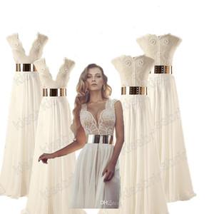 Julie Vino Perline Prom Dresses Avorio scollo a V A-Line Cap maniche spacco laterale in chiffon 2019 abiti da sera spiaggia