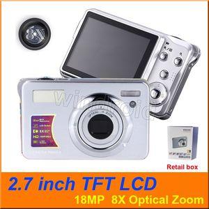 2,7 pouces TFT LCD Appareils photo numériques Enregistreur vidéo 18MP 8X Zoom optique 1080P HD Caméra Anti-shake Détection de visage COMS Digital DV DC-KG930