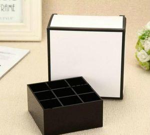 HOT Famous brand classic acrílico de alto grado 9 cuadrícula caja de almacenamiento / soporte para lápiz labial con embalaje de regalo
