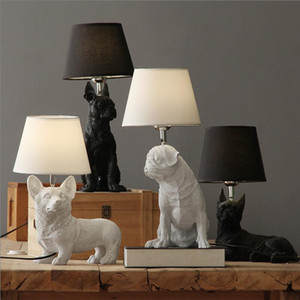 الراتنج الحيوان لطيف أضواء الجدول الكلب الأسود مصابيح السرير الأسود مكتب البيضاء كورجي بوسطن الصلصال بيغل الكلب مصابيح ريترو الحيوان الكلب الأسود ضوء الجدول