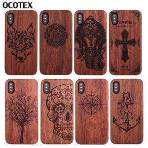 Elefante Wolf Tree Tree caja del teléfono de madera real para iPhone X case para iphone 8 7 6s 6 plus ancla brújula de madera cubierta trasera dura