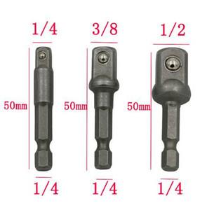 """BeHelper 3 Pcs Schraubenschlüssel Adapter Set, Sechskantschaft zu 1/4 """"3/8"""" 1/2 """"Bohrer Verlängerung Bar Socket Verbindungsstange Elektrowerkzeuge"""