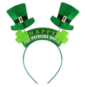 Irlandaise St Patricks Day bandeau vert Leprechaun bandeau Shamrock Boucle Déguisement Carnaval Accessoires de Noël fête chapeaux haut bateau gratuit