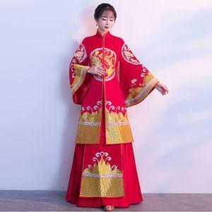 Kimono Pregnant Women Cheongsams Red Qipao Embroidery Chinese Wedding Traditional Dress Robe Oriental Loose Cheongsam Plus Size