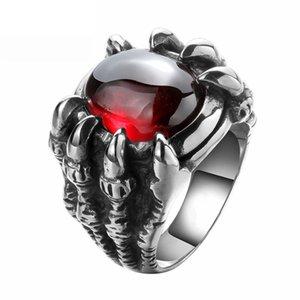 Coole Herrenmode Schädel Skeleton Fingerringe Legierung Red Dragon Claw Fingerring Punk Biker Gothic Übertrieben Ring Größe 8-10 #