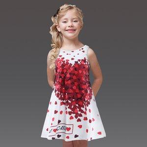 DreamShining Girls Dress Printed Princess Graduation Gowns Children Dress Girl Clothes Sleeveless Summer Kids Dresses For Girls