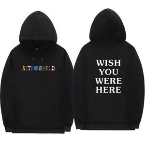 Travis Scott Astroworld DESEJO QUE VOCÊ ESTAVA AQUI hoodies moda carta impressão Moletom Com Capuz streetwear Homem e mulher Pullover Camisola W2089