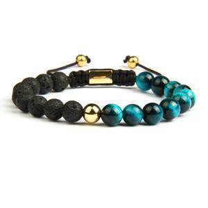 Venta al por mayor 10 unids / lote Yin yang Parejas Pulseras Con 8mm Natural Lava Rock Stone Y Tiger Eye Beads Joyería Ajustable