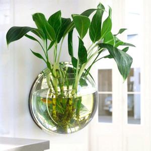Planta de vaso de Parede Montado Pendurado Aquário Transparente Acrílico Fish Bowl Fish Tank Flor Vaso de Plantas Decoração de Casa