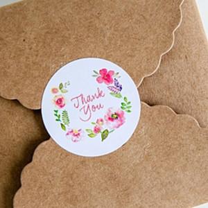 Neue Blumen-Entwurfs-Aufkleber-Aufkleber der Ankunfts-100pcs 3.5cm für kreative Papieraufkleber danken Ihnen Dichtungen für Geschenke