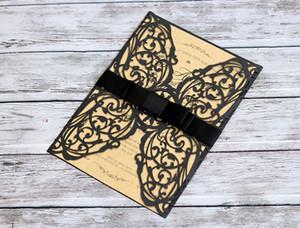 2018 우아한 주문 꽃 꽃은 리본으로 결혼식 초대한다 우아한 결혼식은 인쇄 한 삽입 결혼식 공급자로 카드를 초대한다