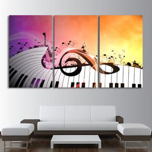 Moderne HD Imprimé Peintures Abstrait Affiches 3 Panneau Clés de Piano Caractère de Musique Décoration de La Maison Mur Art Photos Toile