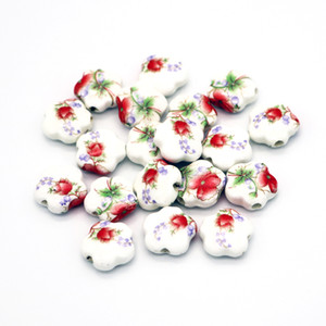 Cheap And Hot 50pcs 15*6mm Applique Ceramic Round Beads Fit Good Quality Jewelry Bracelet DIY Findings
