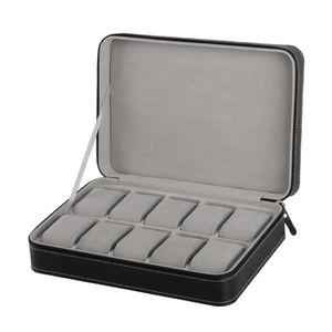 Spezielle Schützen 10 Grids PU-Leder Armbanduhr Box Fall Reißverschluss Travel Watch Schmuck Aufbewahrungstasche Box