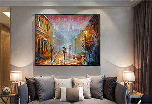 Moderna abstrata pintados à mão lona HD Imprimir Art Oil Painting Rua Paisagem, decoração da parede em alta qualidade lona grossa multi Tamanhos L01