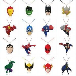 Marvel's Avenger Superheros Cartoon Action Figure Collana Cool PVC Pendant / Charm + 51cm Catena Accessori per bambini Regalo di compleanno Bomboniere