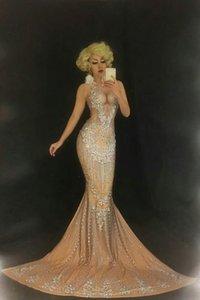 DJ Songbird brillando grandi cristalli vestito sexy discoteca pietre lungo treno abito di compleanno Costume Prom celebra nudo coda grande abiti outfit