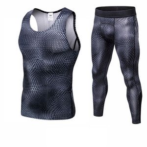 Fitness Tight Sport Suit Men Sleeveless Shirt +Pant Men's Running Set Compression Gym Clothing Quick Dry Men's Sportswear