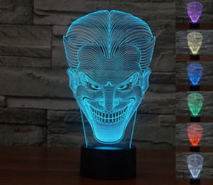 Visual The Joker 3D Optical Illusion LED Night Light 7 Colors Touch Room Desk Lamp Gift Home Decor Acrylic Light Fixtures #R87
