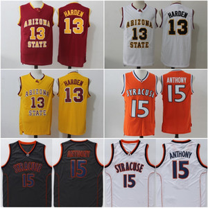 # 13 James Harden Arizona State Jersey Stitched College # 15 Camerlo Anthony Syracuse Jersey 저렴한 Mens University Jersey