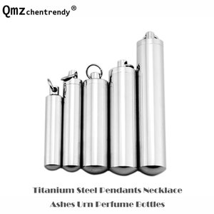 Stainless Steel Urn Keepsake Jewelry Cylinder Perfume Bole Pendants Necklace Openable Put in Ashes Memorial Men Women 5 Sizes