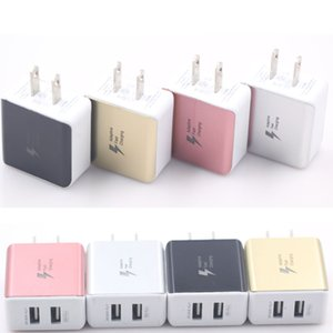 듀얼 USB 벽 충전기 홈 AC 어댑터 iphoneX 8 7/6/5 s7 s6 참고 4 4 색상에 대 한 범용 5V / 2.1A 블루 플래시 표시 빛 미국 플러그