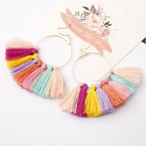 Fan Tassel Earrings Bohemian Style Dangle Pendientes Cotton Thread Multi Color Fringe Thread Drop Dangle Earrings