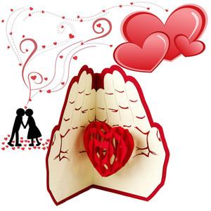 Любовь в руке 3D всплывающее Поздравительная открытка День Святого Валентина юбилей День рождения Рождество свадьба открытки открытки подарки WX9-266