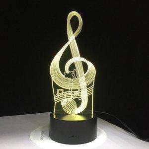 Visual 3D Ilusão LED Night Light Music Note com 7 Cores de Luz Decoração de Casa Lâmpada Frete Grátis # T56
