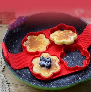 Molde de silicona para panqueques Molde antiadherente Flippin Pancake Maker Forma de anillo de huevo Molde Omelette Accesorios para hornear Hash Browns Maker Herramientas de pastelería nt