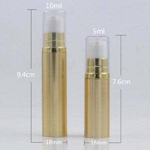 Free ship 5ml 10ml Airless Pump Bottle Empty Eye Cream Container Lotion and Gel Dispenser Airless Bottle Clear Gold Silver