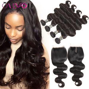 Malasia Body Wave Virgin Hair 4 Bundles con tapa superior del cuerpo del encierro teje peinados para mujeres negras Proveedor superior Vendedores de cabello humano