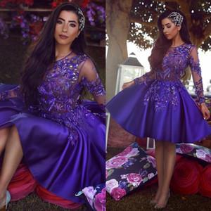 Eleganti abiti da ballo con paillettes con maniche lunghe Collo a gioiello trasparente in rilievo Una linea Abiti da sera corti Vestidos De Fiesta Abito formale in raso