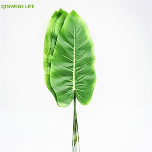 45cm 60pcs Tissu Banana Artificielle Plante Feuille Feuille Couleur Imprimer Mariage Home Decor Faux Feuillage Diy Floral Vert