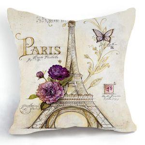 Eiffel Tower Waist Pillow Case Retro Style Sketch Parigi Cuscino Copri cuscino Lenzuolo Miscela di lino Metereial Drop Shipping