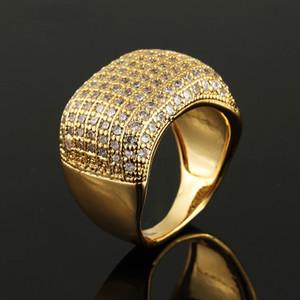 Медный Rhinestone кольца верхнего качества Золотое кольцо Мужчины Hip Hop кольца обручального кольца для мужчин Ювелирные изделия Lovers День подарков Валентина