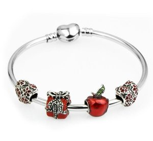 Promoción de Navidad 925 Pulseras de Plata de ley Fit Pando Charm Bead Bangle Bracelet Regalo de La Joyería Para Hombres Mujeres
